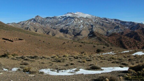Morocco's High Atlas mountains with a bit of snow.