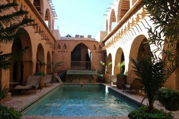 Courtyard of Riad Maktoub, near Ouarzazate, Morocco.