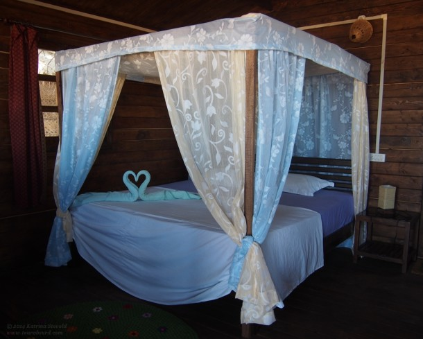Fairy tale bed at Simrose Resort, Agonda Beach, India.
