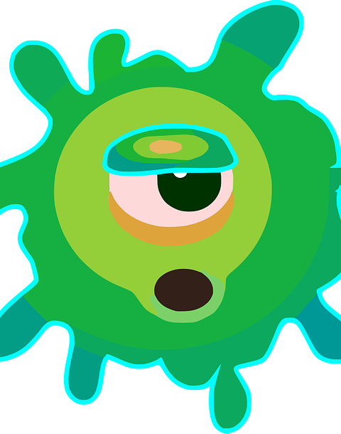 green blobby alien thing, possibly a virus