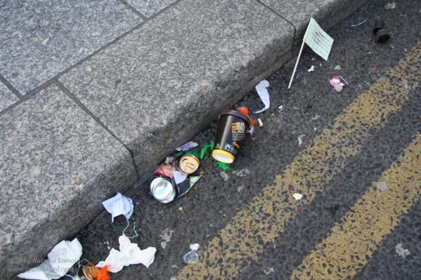 the detritus of drunken revelry