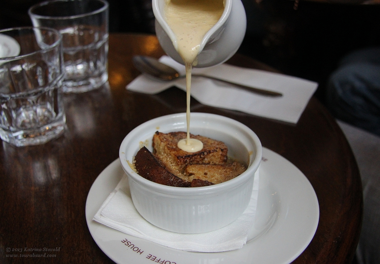 Banana Bread Pudding with vanilla rum cream custard somethingorother... GAH! It's just AMAZING, OK?