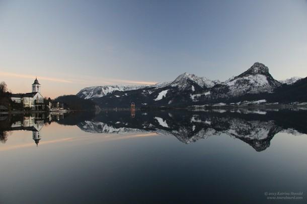 Wolfgangsee twilight reflection.