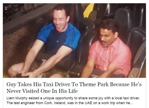 Screen capture of a link posted on Facebook about an Irish man who took his taxi driver to a theme park.