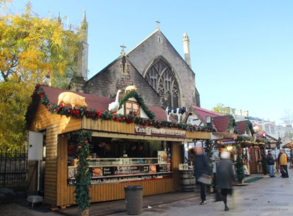 food and craft stands at the Cardiff Christmas Market